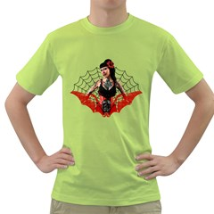 Tattoo Pin Up Mens  T-shirt (Green)