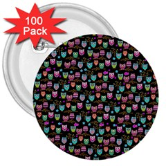 Happy Owls 3  Button (100 pack)