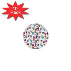 Happy Owls 1  Mini Button (10 pack)