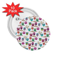 Happy Owls 2.25  Button (10 pack)