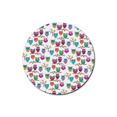 Happy Owls Drink Coasters 4 Pack (Round)