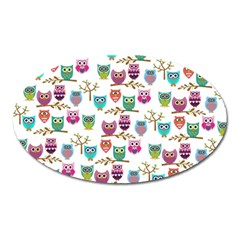 Happy Owls Magnet (Oval)