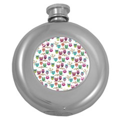 Happy Owls Hip Flask (round)