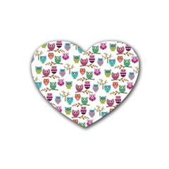 Happy Owls Drink Coasters 4 Pack (heart)