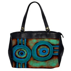 Turquoise Abstract Art Leather Like Handbag