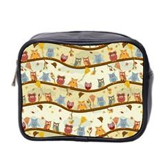Autumn Owls Mini Travel Toiletry Bag (Two Sides)
