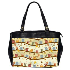 Autumn Owls Oversize Office Handbag (two Sides)