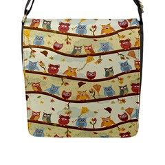 Autumn Owls Flap Closure Messenger Bag (large)
