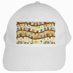 Autumn Owls White Baseball Cap