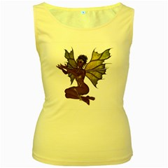 Faerie Nymph Fairy with outreaching hands Womens  Tank Top (Yellow)