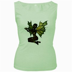 Faerie Nymph Fairy with outreaching hands Womens  Tank Top (Green)