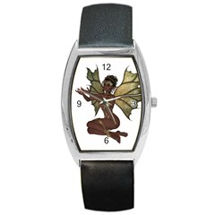 Faerie Nymph Fairy with outreaching hands Tonneau Leather Watch