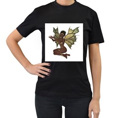 Faerie Nymph Fairy with outreaching hands Womens' Two Sided T-shirt (Black)