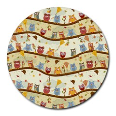 Autumn Owls 8  Mouse Pad (Round)