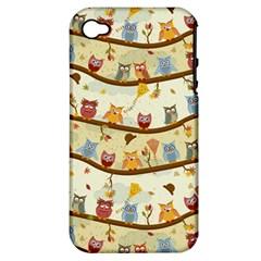 Autumn Owls Apple iPhone 4/4S Hardshell Case (PC+Silicone)
