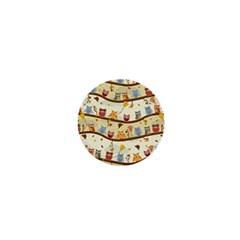 Autumn Owls 1  Mini Button Magnet