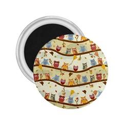 Autumn Owls 2.25  Button Magnet