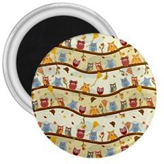 Autumn Owls 3  Button Magnet