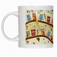 Autumn Owls White Coffee Mug