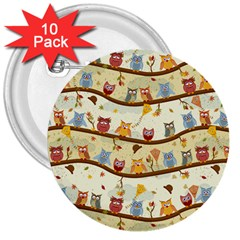 Autumn Owls 3  Button (10 pack)