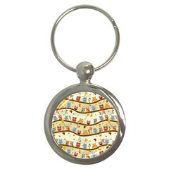Autumn Owls Key Chain (Round)