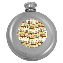 Autumn Owls Hip Flask (round)