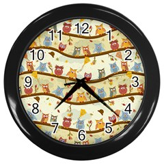 Autumn Owls Wall Clock (Black)