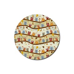 Autumn Owls Drink Coasters 4 Pack (Round)