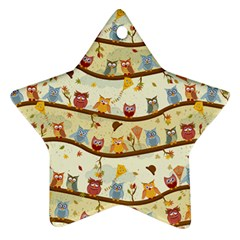 Autumn Owls Star Ornament (Two Sides)
