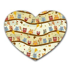 Autumn Owls Mouse Pad (Heart)