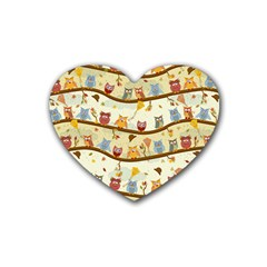 Autumn Owls Drink Coasters 4 Pack (Heart)