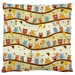 Autumn Owls Large Cushion Case (Two Sided)