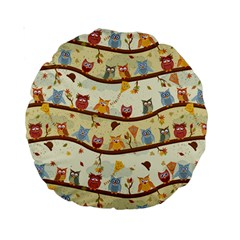 Autumn Owls 15  Premium Round Cushion