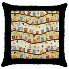 Autumn Owls Black Throw Pillow Case