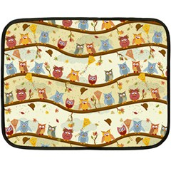 Autumn Owls Mini Fleece Blanket (Two Sided)