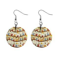 Autumn Owls Mini Button Earrings
