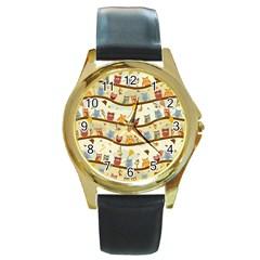 Autumn Owls Round Leather Watch (Gold Rim)