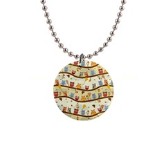 Autumn Owls Button Necklace