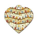 Autumn Owls Dog Tag Heart (One Sided)  Front