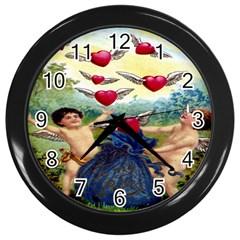 Vintage Valentine Cherubs Wall Clock (Black)
