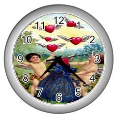 Vintage Valentine Cherubs Wall Clock (Silver)