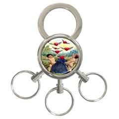 Vintage Valentine Cherubs 3-Ring Key Chain
