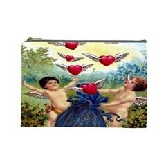 Vintage Valentine Cherubs Cosmetic Bag (Large)