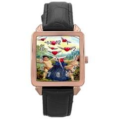 Vintage Valentine Cherubs Rose Gold Leather Watch