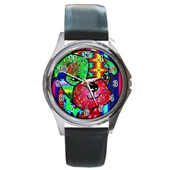 Pug Round Leather Watch (Silver Rim)