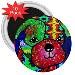 Pug 3  Button Magnet (10 pack)