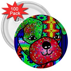 Pug 3  Button (100 pack)