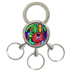 Pug 3 Ring Key Chain