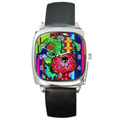 Pug Square Leather Watch