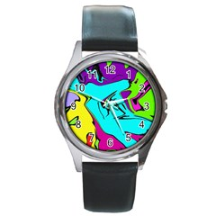 Abstract Round Leather Watch (silver Rim)